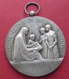 Saint Monica Religious Art Medal St Augustine Mother Art Deco French Bronze