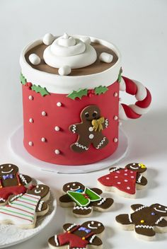 Hot Cocoa Mug Cake and Gingerbread Cookies by 3 Sweet Girls Cakery Christmas and Holiday Cookie Trays, Cupcakes, Cake Pops and cakes are unique and delicious at 3 Sweet Girls Cakery. Corporate Gifts are plentiful! Christmas Cake Designs, Christmas Cake Pops, Holiday Cupcakes, Christmas Cake Decorations, Christmas Sweets, Holiday Cookies, Christmas Desserts, Christmas Baking, Holiday Pops