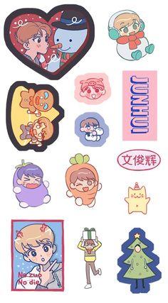 Exo Stickers, Face Stickers, Printable Stickers, Planner Stickers, Fanart Bts, Cartoon Fan, Seventeen Wallpapers, Aesthetic Stickers, Doodle Art