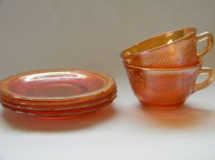 Depression Glass  Cups and Saucers Normandie by TreasuresFromMaine, $22.00