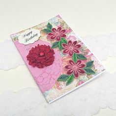 Card-Paper Quilling Personalized Age Birthday Mom Wife Paper Quilled Thinking of You Floral Art Crimson Daisy Rhinestone Flower Doily