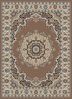 Dallas Floral Kirman Ash Beige Area Rug