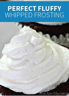 This Whipped Cream Frosting is the perfect recipe because it's not too sweet, it keeps its shape, and it requires under 5 ingredients. You and your kids can dye it any fun color and top your Rice Krispies Treats® with it!