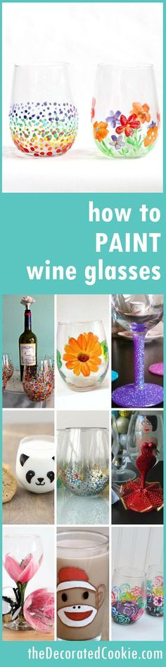 how to paint on wine glasses -- 16 ideas for inspiration -- glass painting