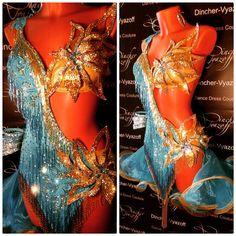 blue and floral gold bikini fringe latin dress