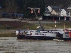 The 135 meter long self-propelled barge Aarburg allided with the 110 meter long self-propelled barge Formosa on the Rhine near St. Goard-Fellen, Germany.