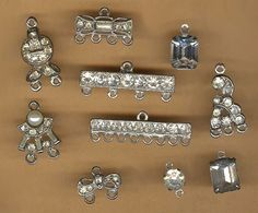 vintage art deco rhinestone connectors assorted rare antique findings, TEN findings amazing old rhinestone connectors so many uses by beadtopiavintage on Etsy