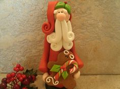 Santa and Gingerbread Man  Figurine by countrycupboardclay on Etsy, $18.95