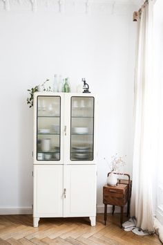Medicine cabinet for bathroom. Docs showcase glass cabinet repurposed for the bathroom