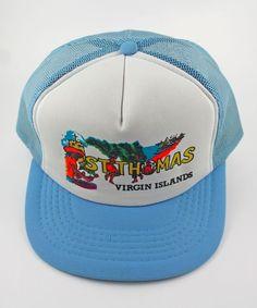 49341bbbaf148 St Thomas Virgin Islands Trucker Hat Snapback Cap Vintage 1980s 1 size Fits  All  Cabbie
