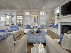 Blue and white living room. Classic coastal living room with blue and white decor. Blue and white living room interior ideas. Blue and white living room. Blue and white living room Asher Associates Architects. Beach Living Room, Coastal Living Rooms, Home Living Room, Living Room Designs, Living Room Decor, Coastal Cottage, Coastal Farmhouse, Coastal Decor, Coastal Rugs