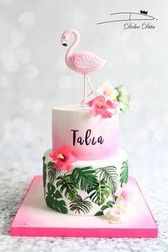 14th Birthday Cakes, Birthday Cakes For Teens, Luau Birthday, Hawaiian Birthday Cakes, Flamingo Cake, Flamingo Birthday, Teen Cakes, Girl Cakes, Buttercream Birthday Cake