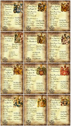 Wicca Zodiac Correspondences Book of Shadows 12 prints