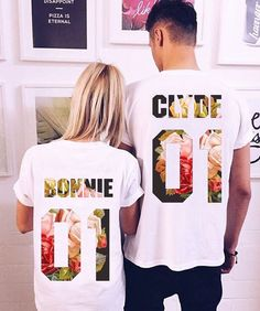 "Couple T-shirts set ""Bonnie and Clyde"" set of 2 couple T-shirts Bonnie Clyde Tshirt Custom Shirts with Custom Numbers"