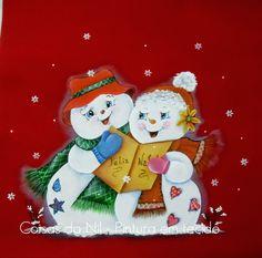 pintura em tecido com tema de natal casal de bonecos de neve