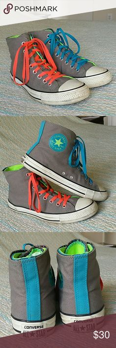 Converse Gray High Top Casual Sneakers Size 9 Women's High Top Gray Converse Casual Sneakers Size 9 Blue Green Polka Dot Lined Converse Shoes Sneakers