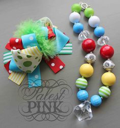 Carnival Bow and little girls chunky necklace by PalestPink, $45.00
