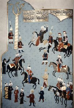 Mehmed II the Conqueror in the Hippodrome, Istanbul, 16th century miniature from ms H.1523, p 162B, Book of Accomplishments, Topkapi Palace ...