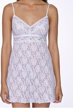 """Annabelle brings the perfect touch of blue to your big day. Chemise features a v- neckline and empire waistline. Cross-dyed lace trim, adjustable straps, contrast bow, approx 32"""" long.   Annabelle Chemise by Hanky Panky. Clothing - Lingerie & Sleepwear - Chemises & Slips Denver, Colorado"""