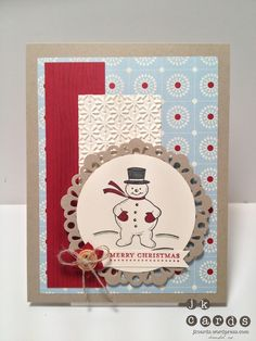 Stampin' Up!, Paper Craft Crew Design Team Card Sketch 18, Jolly Old St. Nick, Teeny Tiny Wishes, Timber Stampin' Around Wheel, Festival of Prints DSP Stack, Snow Burst Embossing Folder, Delicate Doilies Large Sizzlit, 2 1/2 Circle Punch, Boho Blossoms Punch, Natural Designer Buttons, Linen Thread