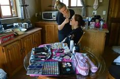 Getting my make up done by the awesome Bronwyn kaye