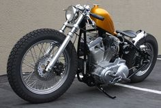 Evo sportster hardtail custom w/ gold tank and clip-ons