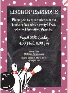 Kids 10th birthday invitation with photo upload httpswww kids 10th birthday bowling theme invitation httpsgrouptable stopboris Gallery