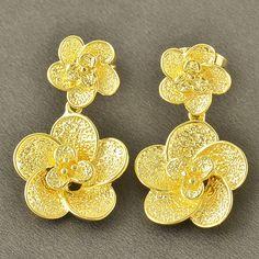 9K Yellow Gold Filled 2-Flower Hypo-Allergenic Stud Pierced Earrings 16mm #Stud
