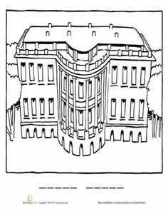 White House Coloring Page  Worksheets Social studies and Social