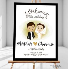 Black, white and gold Wedding Welcome Sign. Perfect for both indoor and outdoor. Wedding Welcome Signs, Couple Cartoon, Gold Wedding, Christening, Creative Art, Signage, Birthdays, Invitations, Bride