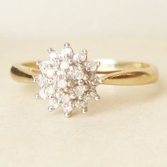 Vintage Engagement Ring, Gold Diamond Flower Cluster Ring, Diamond & Gold Wedding Ring Approximate Size US 7 This classic ring is yellow gold Wedding Rings Simple, Gold Wedding Rings, Wedding Jewelry, Gold Weddings, Indian Weddings, Bling Bling, The Bling Ring, Gold Ring, Halo Engagement