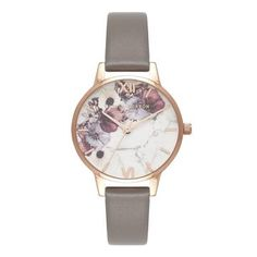 Olivia Burton Marble Floral London Grey Rose Gold Watch - Grey N/A Best Watches For Men, Luxury Watches For Men, Fine Watches, Women's Watches, Fashion Watches, Silver Pocket Watch, Swiss Army Watches, Grey Roses, Elegant Watches