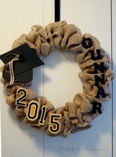 Graduation Burlap Wreath by TheModernMamasita on Etsy