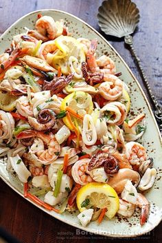 Marinated Seafood Salad – Good For Health Party Menu Dinner Food Recipe Idea - Bored Fast Food (seafood platter ideas) Sea Food Salad Recipes, Fish Recipes, Seafood Recipes, Healthy Recipes, Frozen Seafood Mix Recipes, Sauce Recipes, Mixed Seafood Recipe, Octopus Recipes, Calamari Recipes