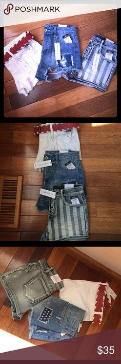 Girls denim shorts bundle of three Cute stretchy shorts three pairs Rue21 Shorts Jean Shorts