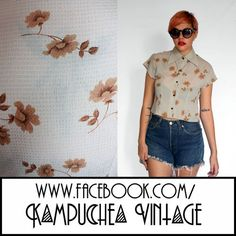 Vinatge Pastel Blue Floral Cropped Shirt Blouse Womens S - 1990s Grunge FREE P Mint condition lovely little cropped blouse in a killer pastel blue with beige ever so 90s floral pattern. Looks awesome with high waisted jeans, the best 90s shirt we've seen in a while. £8