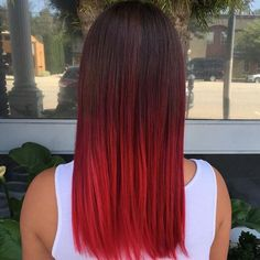 bright red ombre dark hair - Google Search