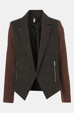 Topshop Inverse Plaid Tweed Jacket available at #Nordstrom