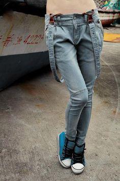 Slim Fit Jeans with Shoulder Strap OASAP.com     http://www.oasap.com/denim/2367-slim-fit-jeans-with-shoulder-strap.html $86
