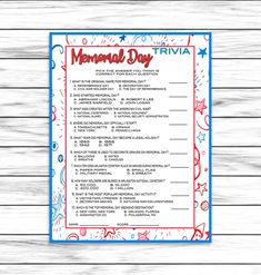 Memorial Day Trivia Game, Party Game, Memorial Day Party Game, Memorial Day Printable Game, Memorial Day Decor, Instant Download Dinner Games, Activities For Teens, Game Party, Remembrance Day, Graduation Cards, Trivia Games, Easter Party, Party Guests, Funny Cards