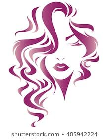 Illustration of women long hair style icon, logo women face on white background, Face Stencils, Stencil Art, Face Illustration, Beauty Logo, Cool Sketches, Woman Face, Logo Design, Long Hair Styles, Abstract