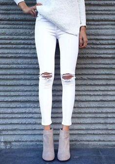 White Plain High Waisted Fashion Nine's Jeans