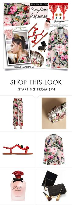 """""""Tricky Trend: Daytime Pajamas"""" by nastyaafanasova ❤ liked on Polyvore featuring Dolce&Gabbana"""