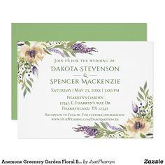 Anemone Greenery Garden Floral Boho Modern Wedding Invitation #bohochic #bohochic #bohowedding