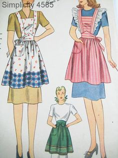 Vintage Apron Pattern - Simplicity 4585 - Vtg 1940's Misses' Aprons in 3 Variations - SZ Small/Bust 32-34