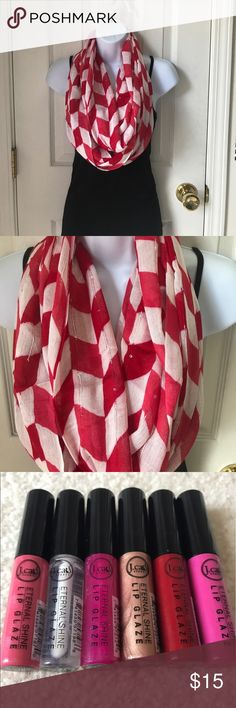 Chevron Infiniti scarf Never worn. Price firm. 100% Viscose. This purchase also comes with a free tube of lipgloss. Just comment 1-6 below when purchasing. Accessories Scarves & Wraps