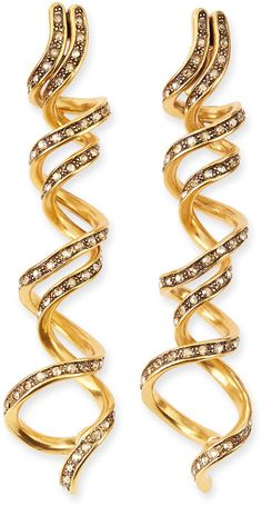 Oscar de la Renta Pave Crystal Spiral Earrings on shopstyle.com