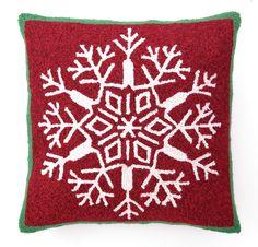 Snowflake Hook Wool Throw Pillow