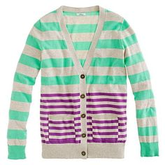 Stripecast Cardigan // mint stripes on camel stripes on orchid stripes // madewell.com