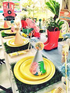 Pig Birthday Cakes, Picnic Birthday, 3rd Birthday Parties, Birthday Party Decorations, 2nd Birthday, Birthday Ideas, George Pig Party, Aniversario Peppa Pig, Cumple Peppa Pig